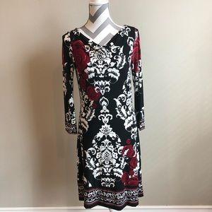WHBM Rose Print Dress S EUC